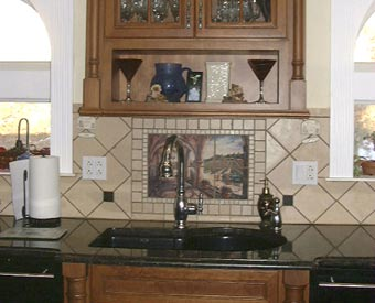 This Tuscan Wine scene mural really looks great in this kitchen backsplash remodel project.