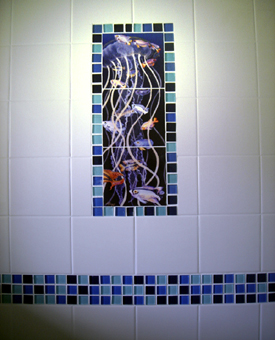 Beautiful bordering of our Damsel Dance tile mural. Borders help to make small tile murals  appear larger. Lots of color really pops off the white wall tile.