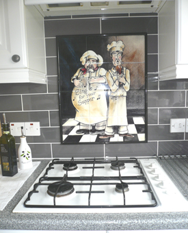 Kitchen Backsplash Tile Mural Duet Chefs Item 15-114. Chef tile murals make a great kitchen backsplash idea. Enjoy this tile mural of chefs everyday! You cook - they sing for their supper! Whimsical tile murals of chefs are a great kitchen backsplash idea!
