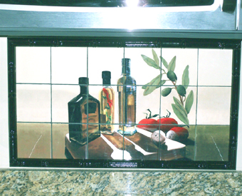 This tile mural featuring 3  bottles of olive oil, tomatoes, mushrooms and olives on an olive branch. It is simple in design but adds that touch of Tuscany to any kitchen