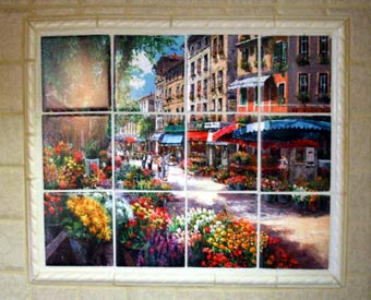 The Paris Flower Market ceramic tile mural is one of our best sellers.