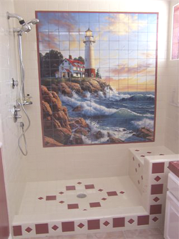 Shower Tile Surround Lighthouse 2 Item 15 105. This Large Bathroom Wall  Tile Mural ... Part 10