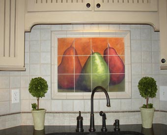 Kitchen Backsplash Tile Mural Three Amigos Item 15-177. This tile mural of three pears is a great kitchen backsplash idea. This is a picture of the installed tile mural that our customer sent to us. Great Job!! Love the trim tile they used!.