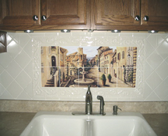 This gorgeous kitchen backsplash project is complete with this Southwest tile  mural.