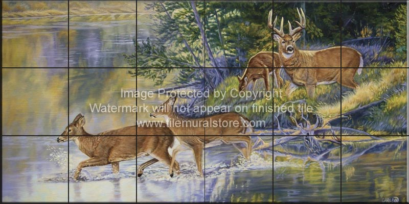 Backsplash design ideas wildlife tiles autumn crossing for Crossing the shallows tile mural