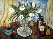 Red Wine, Fruit and Tulips    - Tile Mural