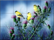 American Godfinch and Thistle    - Tile Mural