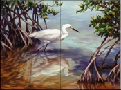 Heron Walking on Water    - Tile Mural