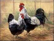 Black Rooster and Hen    - Tile Mural