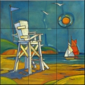Portofino Lifeguard Chair    - Tile Mural