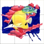 PB- Forceps Butterfly Fish    - Tile Mural