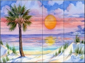 Sunset Palm    - Tile Mural