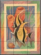 Moorish Idol Duo Antique    - Tile Mural