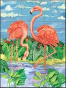Bamboo Flamingo with Sky    - Tile Mural