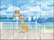 Beach Signs Yacht Club    - Tile Mural