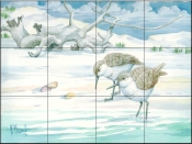 Driftwood Sandpipers    - Tile Mural