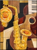 Abstract Sax    - Tile Mural