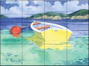 PB-Yellow Rowboat    - Tile Mural