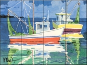 Fishing Boats at Sea    - Tile Mural