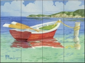 PB-Red Rowboat    - Tile Mural