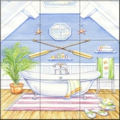 Nautical Bath I    - Tile Mural