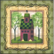 Folk House 3   - Tile Mural