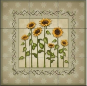 Sunflowers 3   - Tile Mural