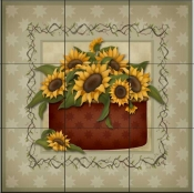 Sunflowers 4   - Tile Mural