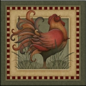 Folk Rooster - Accent Tile