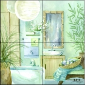 Tropical Bath II    - Tile Mural