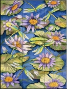 Water Lilies and Dragonflies   - Tile Mural