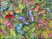 Tropical Butterflies   - Tile Mural