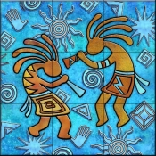 Kokopelli on Blue 2   - Tile Mural