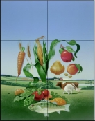 Floating Veggies    - Tile Mural