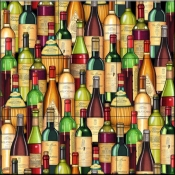 Stacked Wine Bottles   - Tile Mural