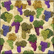 Wine Grapes Collage   - Tile Mural