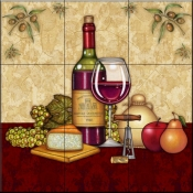 Vino and Cheese 1   - Tile Mural