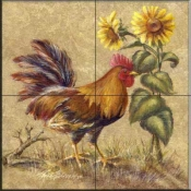 Rooster in the Sunflowers  - Tile Mural