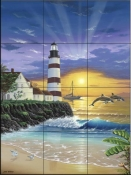 Dolphin Lighthouse  - Tile Mural