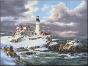 Portland Head Lighthouse-Winter - Tile Mural