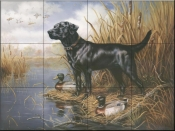 Black Lab with Decoys  - Tile Mural