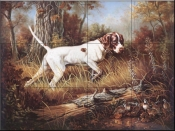Pointer with Quail  - Tile Mural
