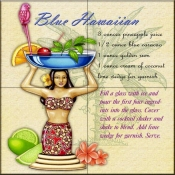 Drink Recipe-Blue Hawaiian - Tile Mural