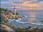 SK-Sunset at Lighthouse  - Tile Mural