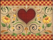 AA-Hearts and Flowers H  - Tile Mural