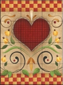 AA-Hearts and Flowers V  - Tile Mural