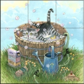 GP-Bath Time II  - Tile Mural