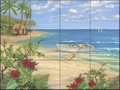 PB-Plantation Key-Rowboat - Tile Mural