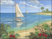 PB-Plantation Key-Sailboat - Tile Mural