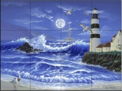 Lighthouse Romance-JW - Tile Mural